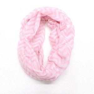 Col shawl chevron wit/roze