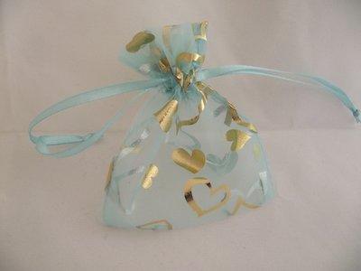 Organza zakje blauw met gouden hartjes