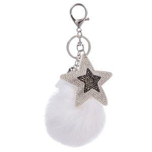 Tas/sleutel hanger bling star wit