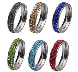 RVS strass ring blauw - verschillende maten