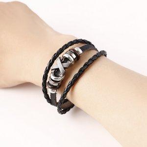 Heren armband leer zwart met metalen sluiting (bruin)