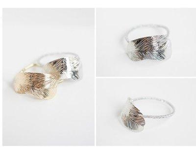 Haar elastiek leaf - Zilver