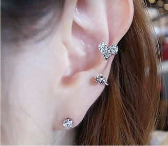Ear cuff heart goud