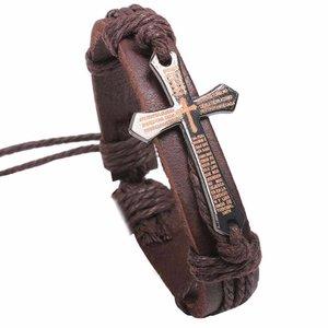 Heren armband leer met kruis - Bruin