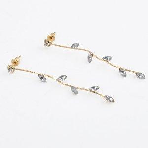 Lange oorbellen - goud strass