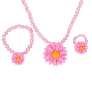 Kinder sieraden setje bloem  roze