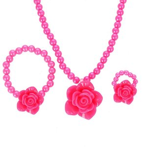 Kinder sieraden setje roos  Hard roze