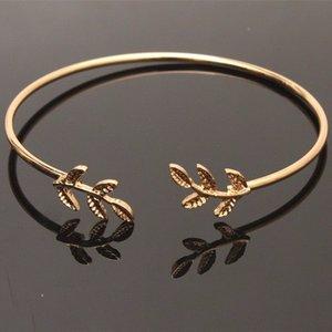 Bangle armband leafs - Goud