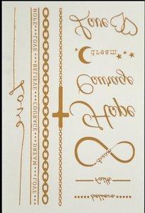 Fash tattoos armbanden/teksten goud