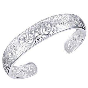 Open gewerkte bangle armband zilver
