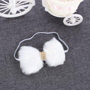 Elastische haarband bont strik - Wit