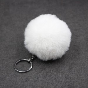 Sleutel/tas hanger met pluizenbol - Wit