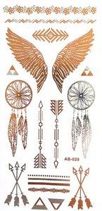 Flash tattoo dromenvangers/vleugels goud/zilver