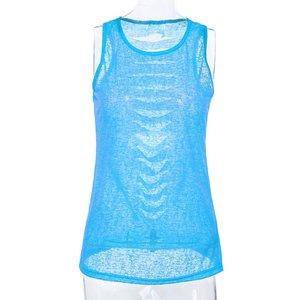 Doorschijnend topje/shirt blauw maat M