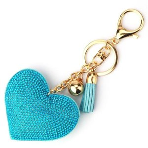 Tas / Sleutelhanger strass hart - blauw