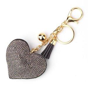 Tas / Sleutelhanger strass hart - grijs