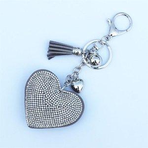 Tas / Sleutelhanger strass hart - grijs/zilver