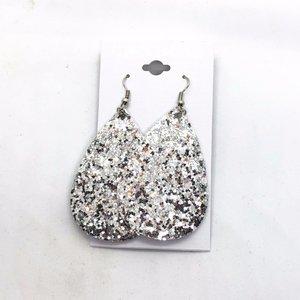 Oorbellen ovaal glitter - Zilver