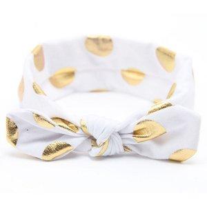 Baby/kinder haarband met gouden stippen - Wit