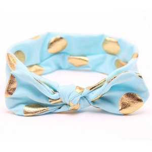 Baby/kinder haarband met gouden stippen - Blauw