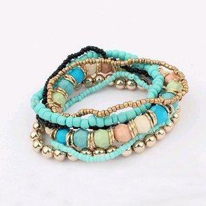 Elastische kralen armbanden set -Blauw/Goud