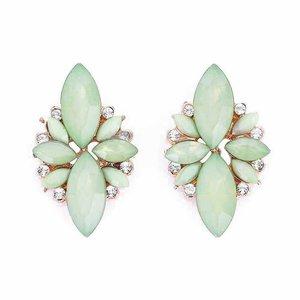 Oorknopjes met strass en opaal stenen - Groen