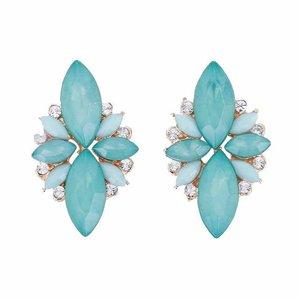 Oorknopjes met strass en opaal stenen - Blauwgroen