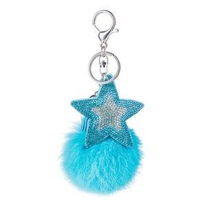 Tas/sleutel hanger bling star blauw
