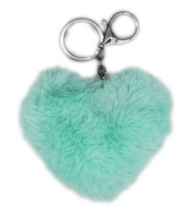 Sleutel/tas hanger pluis hart  - Groen