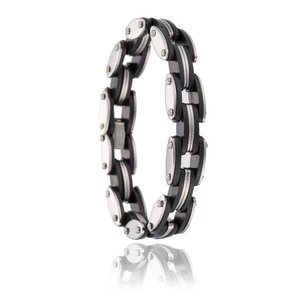 Heren schakel armband zilver/zwart rvs/rubber