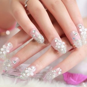 Press-on nagels zilver glitter met strass en bloem