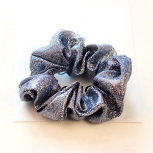 Scrunchie metallic glitter blauw