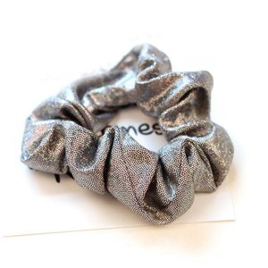 Scrunchie metallic glitter grijs