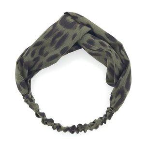 Elastische haarband panterprint -groen