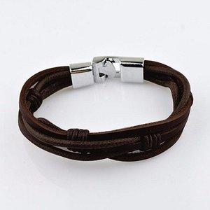 Heren armband bruin leer met zilveren haaksluiting