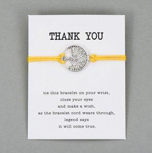 Giftcard thank you met gele armband met zilveren levensboom