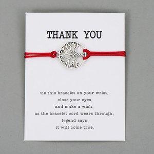 Giftcard thank you met rode armband met zilveren levensboom
