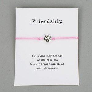 Giftcard friendship met roze armband met zilveren levensboom