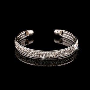 Bangle armband met 2 rijen strass - zilverkleurig