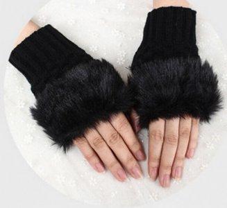 Handschoenen bont - Zwart