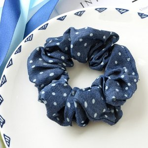 Scrunchie jeans blauw - stip