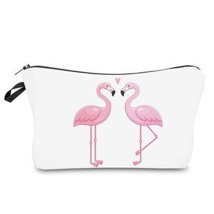 Make-up tasje flamingo wit