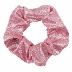 Scrunchie metallic glitter -Roze