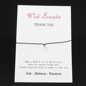 Wishing bracelet star - Zwart