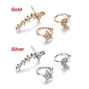 3 delige oorbellen/earcuff set - Goud