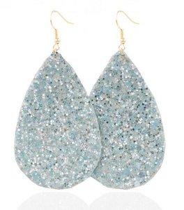 Ovalen glitter oorbellen - Licht blauw
