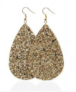 Ovalen glitter oorbellen - Goud