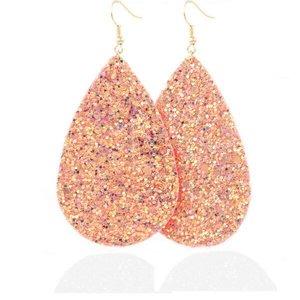 Ovalen glitter oorbellen - Zalm roze