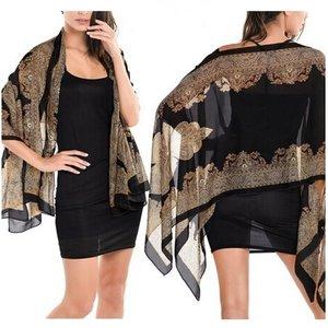 Zomer poncho/sjaal/omslagdoek - Zwart