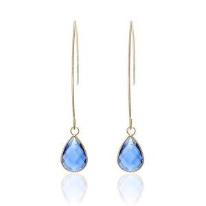 Oorbellen met kristal druppel - Goud/Blauw